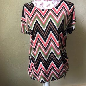 Susan Lawrence Chevron Blouse Cinched with Tie M